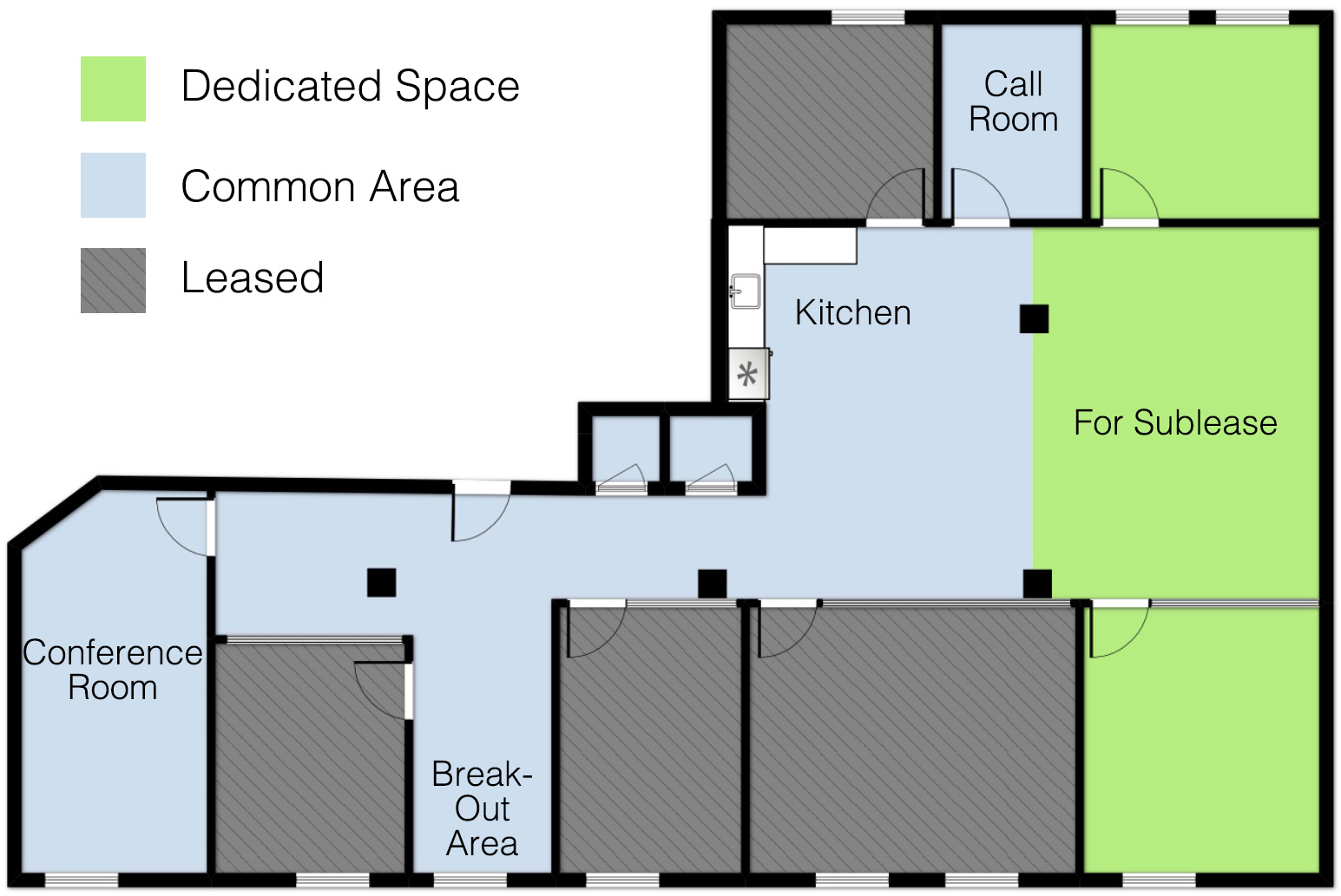 floor plan shared office space