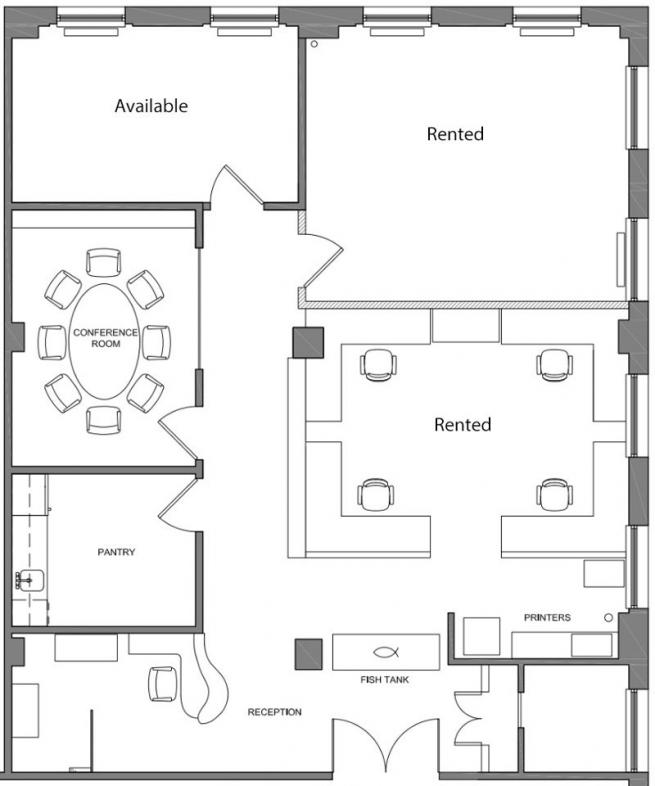 Two team rooms for sublease within architecture office for Office room plan